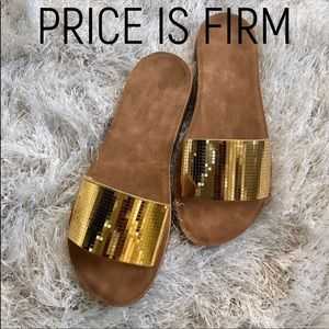 c0e9fc70083a Shoes - ***PRICE IS FIRM***Gold metallic slides/sandals